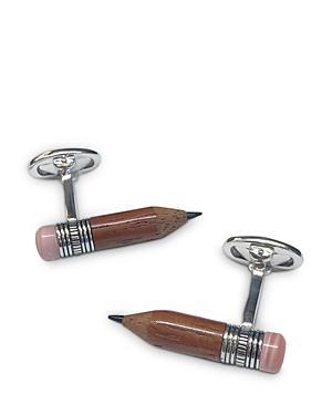 Jan Leslie Handmade Sterling Silver, Wood & Pink Opal Pencil Cufflinks