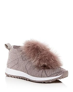 Jimmy Choo Women's Norway Fox Fur Pom-pom Slip-on Sneakers