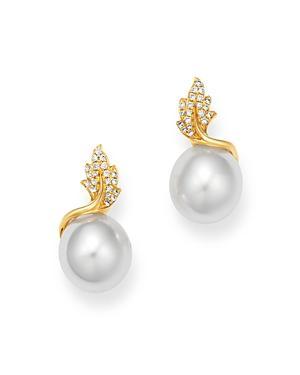 Tara Pearls 14k Yellow Gold Diamond & South Sea Cultured Pearl Drop Earrings