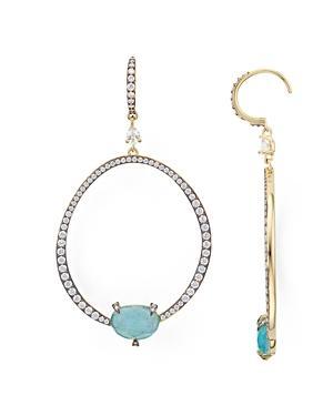 Nadri Agean Frontal Hoop Drop Earrings In 18k Gold-plated Sterling Silver