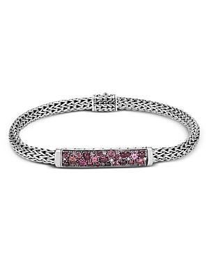 John Hardy Sterling Silver Classic Chain Extra Small Bracelet With Pink Spinel, Pink Tourmaline & Garnet