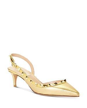 Valentino Garavani Women's Pointed-toe Studded Slingback Pumps