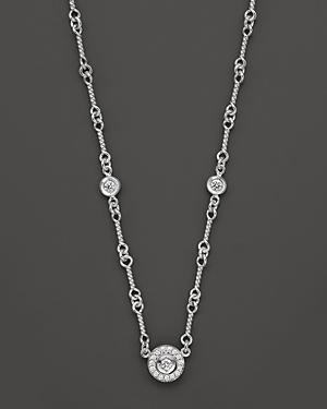 Roberto Coin 18 Kt. White Gold/diamond Cluster Necklace