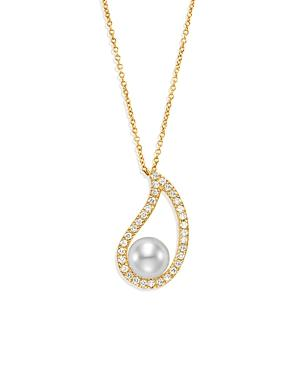 Mastoloni 18k Yellow Gold Cultured Freshwater Pearl & Diamond Paisley Pendant Necklace, 18