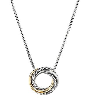 David Yurman Sterling Silver & 18k Yellow Gold Crossover Mini Pendant Necklace, 17