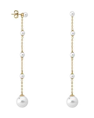 Majorica Simulated Cultured Pearl Drop Earrings In Gold-plated Sterling Silver