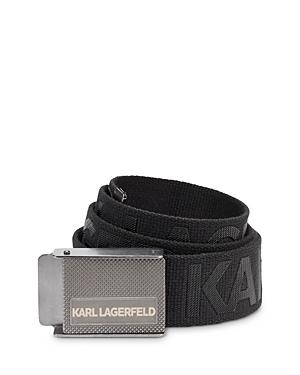 Karl Lagerfeld Paris Men's Tonal Logo Grosgrain Belt