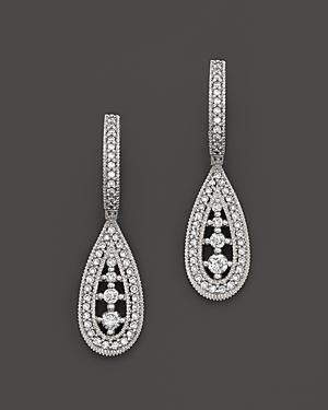 Diamond Drop Earrings In 14k White Gold, .50 Ct. T.w.