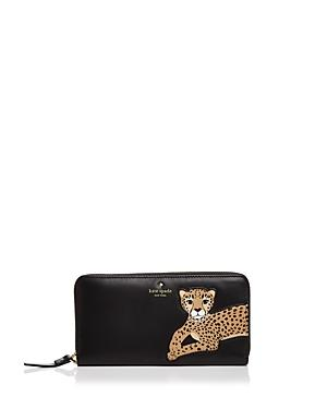 Kate Spade New York Run Wild Leopard Applique Leather Wallet