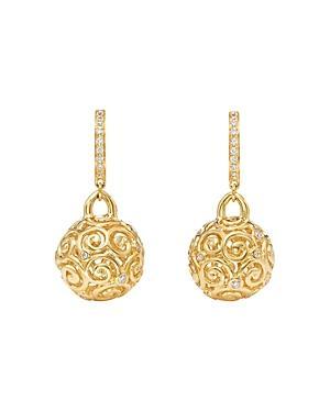 Temple St. Clair 18k Yellow Gold Lattice Diamond Drop Earrings