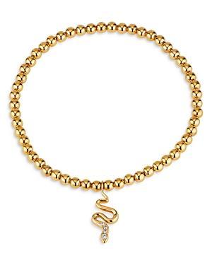 Ajoa By Nadri Snake Charm Stretch Bead Bracelet