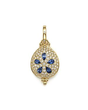 Temple St. Clair 18k Gold Sea Biscuit Pendant With Sapphire And Pave Diamonds
