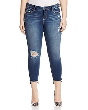 Slink Jeans Dorthey Frayed Step-hem Cropped Jeans In Dark Blue