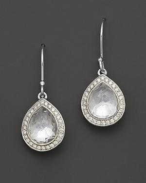 Ippolita Sterling Silver Stella Earrings In Clear Quartz With Diamonds