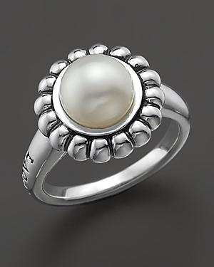 Lagos Sterling Silver And Pearl Luna Ring, Size 7