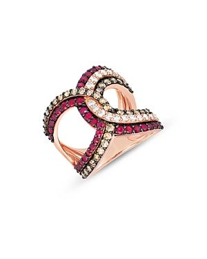 Bloomingdale's Ruby & Diamond Interlocking Loop Statement Ring In 14k Rose Gold - 100% Exclusive