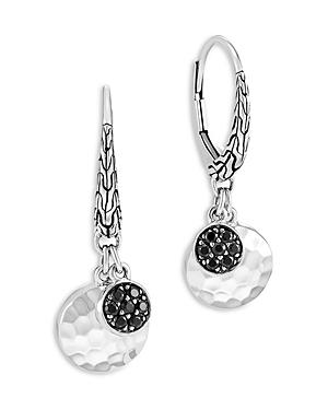 John Hardy Sterling Silver Dot Black Sapphire And Black Spinel Hammered Disc & Cluster Drop Earrings