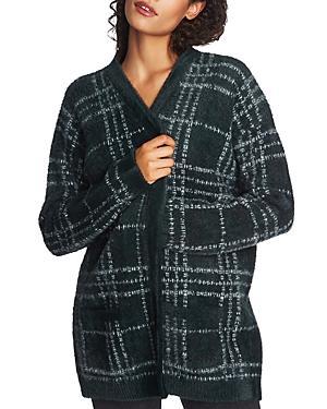 1.state Plaid Eyelash-knit Cardigan