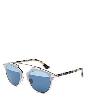 Dior So Real Half-mirrored Leather-trim Sunglasses