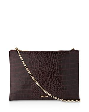 Whistles Shiny Croc-embossed Chain Clutch