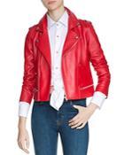 Maje Basalt Leather Moto Jacket