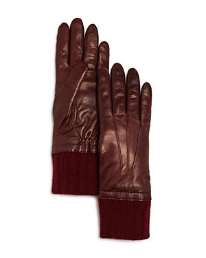 Bloomingdale's Cashmere Cuff Leather Gloves