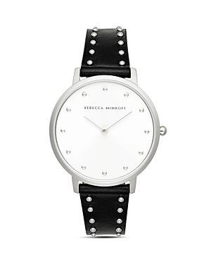 Rebecca Minkoff Major Black Leather Strap Watch, 35mm