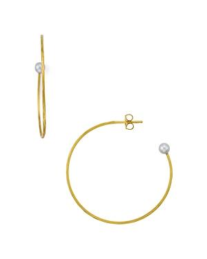 Chan Luu Small Cultured Freshwater Pearl Hoop Earrings In 18k Gold-plated Sterling Silver