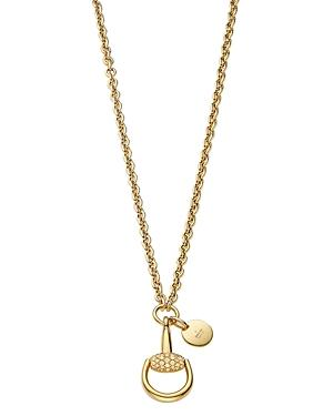 Gucci 18k Yellow Gold Horsebit Necklace With Brown Diamonds, 17.7