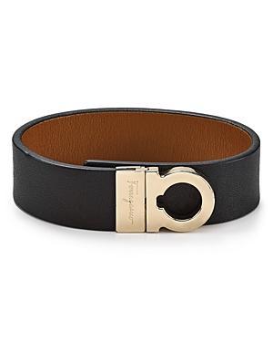 Salvatore Ferragamo Leather Sienne Gancini Wrap Bracelet