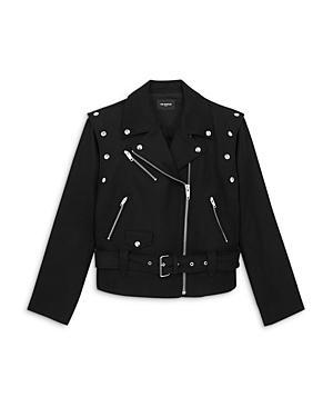 The Kooples Convertible Wool Blend Biker Jacket