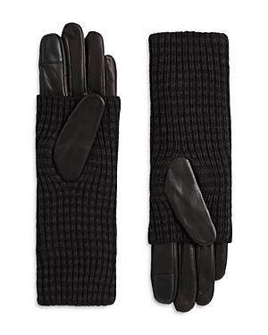Allsaints Leather & Cuff Combo Gloves