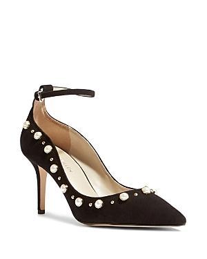 Karen Millen Women's Suede Faux Pearl Embellished Ankle Strap Pumps