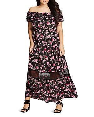 City Chic Off-the-shoulder Maxi Dress