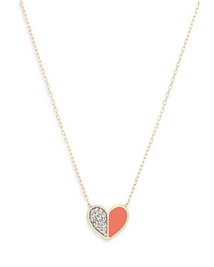 Adina Reyter 14k Yellow Gold Diamond & Coral Ceramic Heart Pendant Necklace, 16