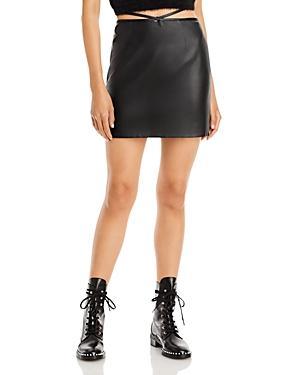 Bardot Strappy Faux Leather Mini Skirt