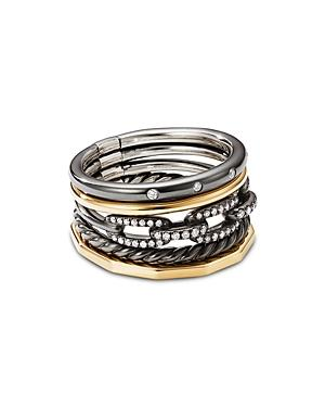 David Yurman Stax Five-row Ring In Blackened Silver With Diamonds