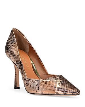 Donald Pliner Women's Pola Metallic Snake Embossed Leather High Heel Pumps