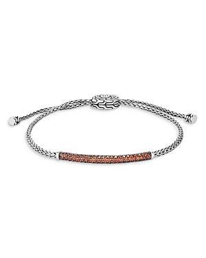 John Hardy Sterling Silver Classic Chain Garnet Medium Pull Through Bracelet