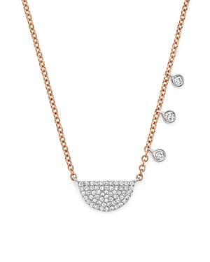 Meira T 14k White And Rose Gold Half Moon Necklace With Diamonds, 17.5