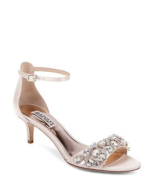 Badgley Mischka Women's Lara Embellished Kitten Heel Sandals