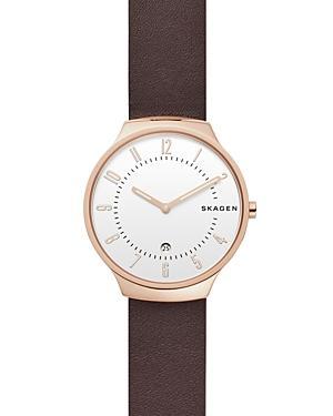 Skagen Grenen Dark Brown Leather Strap Watch, 38mm