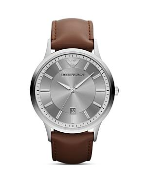 Emporio Armani Three Hand Brown Leather Watch, 43 Mm
