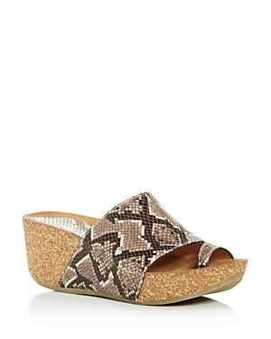 Donald Pliner Women's Ginie Snake-embossed Platform Wedge Slide Sandals