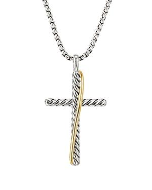 David Yurman Sterling Silver & 18k Yellow Gold Crossover Cross Necklace, 17