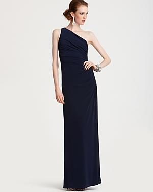 Laundry By Shelli Segal One-shoulder Gown With Beaded Side