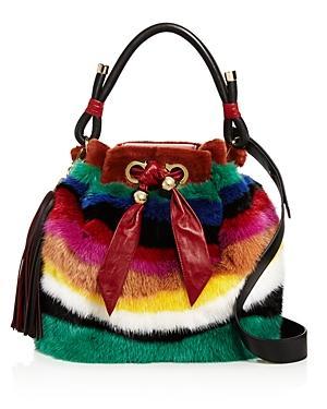 Salvatore Ferragamo Medium Sara Battaglia Mink Rainbow Bucket Bag