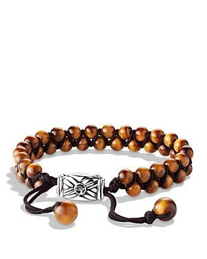 David Yurman Spiritual Beads Two-row Bracelet With Tiger's Eye