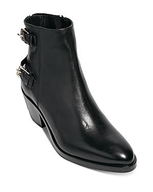 Allsaints Women's Sloane Back Zip Double Buckle Leather Booties