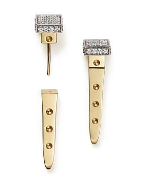 Roberto Coin 18k White And Yellow Gold Pois Moi Chiodo Front-back Earrings With Diamonds - 100% Bloomingdale's Exclusive